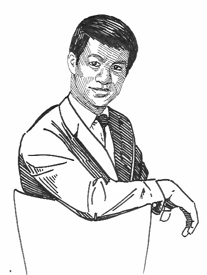 Bruce Lee martial Arts Illustration Black and White