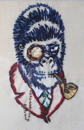 Victorian Smoking Monkey Gorilla - Embroidery by Tickle And Smash