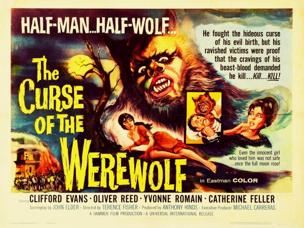 Movie Poster, Tickle And Smash, Horror, Hammer Films. Cinema, Classic, Universal Horror, Evil, Werewolf, Lycathropy